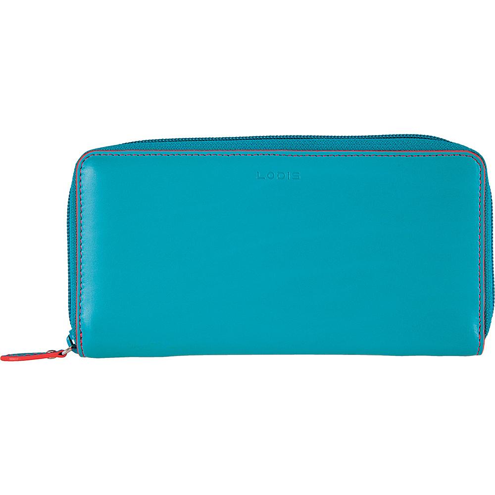 Lodis Audrey Ada Zip Wallet Turquoise/Coral - Lodis Womens Wallets - Women's SLG, Women's Wallets