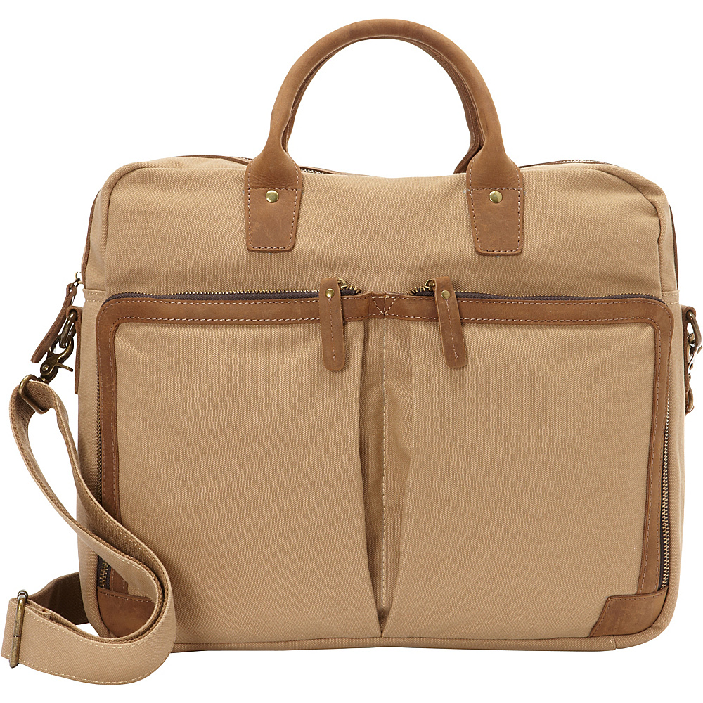 Vagabond Traveler Casual Style Cotton Canvas Messenger Bag Khaki - Vagabond Traveler Messenger Bags - Work Bags & Briefcases, Messenger Bags