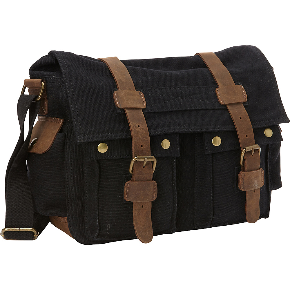Vagabond Traveler Classic Canvas Messenger Bag Black - Vagabond Traveler Messenger Bags - Work Bags & Briefcases, Messenger Bags