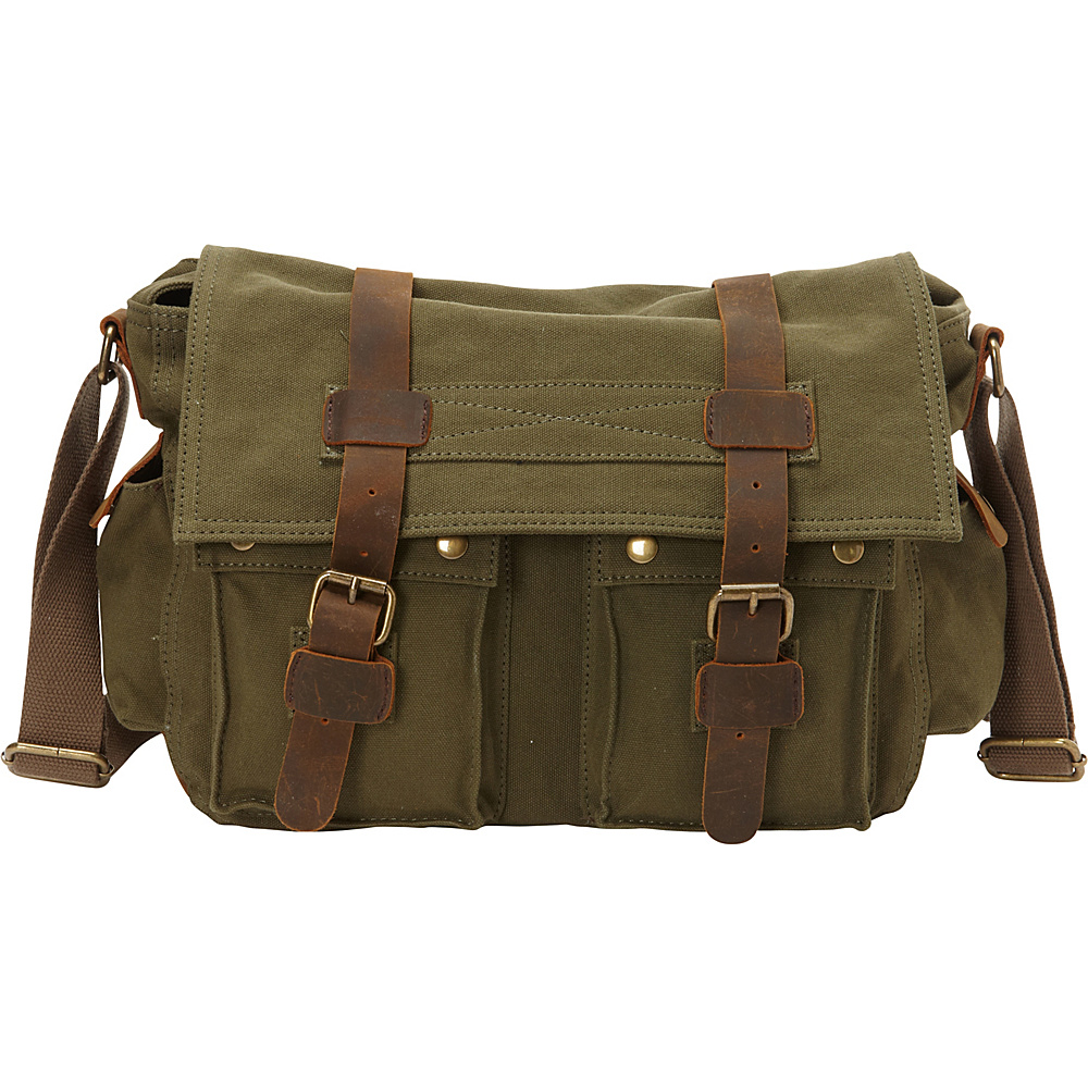 Vagabond Traveler Classic Canvas Messenger Bag Green - Vagabond Traveler Messenger Bags - Work Bags & Briefcases, Messenger Bags