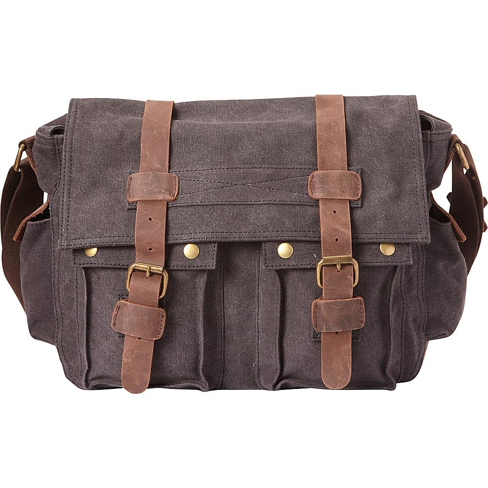 Vagabond Traveler Classic Canvas Messenger Bag Grey - Vagabond Traveler Messenger Bags - Work Bags & Briefcases, Messenger Bags