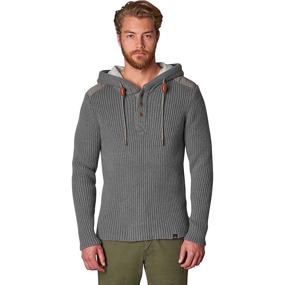 PrAna Hooded Henley Sweater L - Gravel - PrAna Mens Apparel - Apparel & Footwear, Men's Apparel
