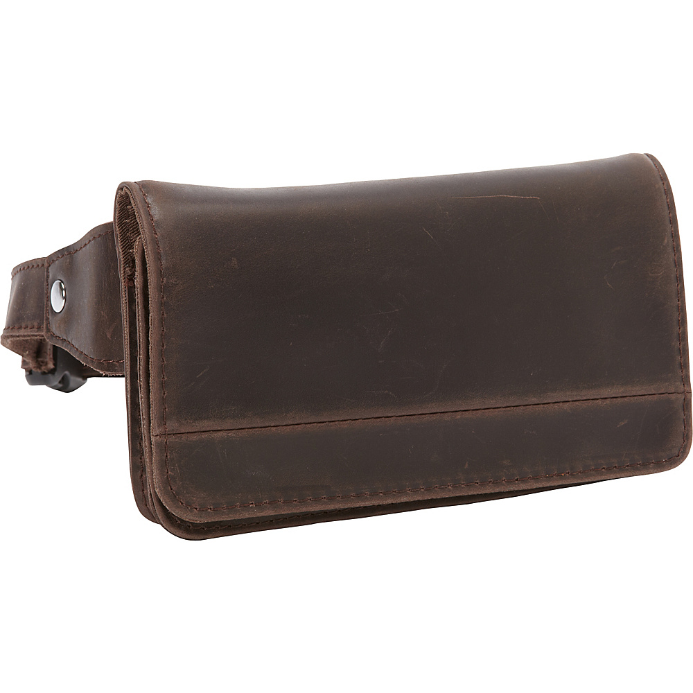 Vagabond Traveler Cowhide Leather Slim Waist Pack Phone Holder Dark Brown - Vagabond Traveler Electronic Cases - Technology, Electronic Cases