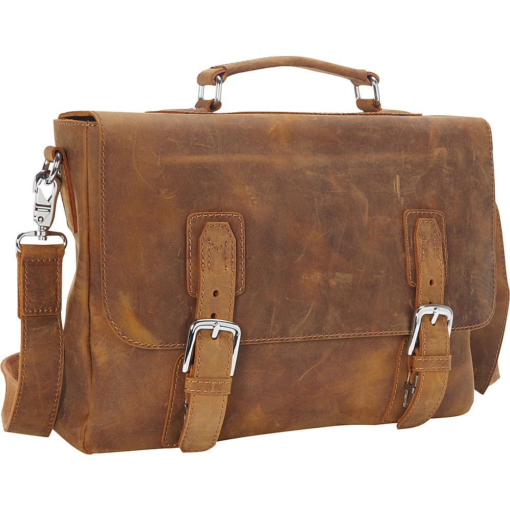 Vagabond Traveler Full Grain Leather Laptop Bag with Clasp Lock Vintage Brown - Vagabond Traveler Non-Wheeled Business Cases - Work Bags & Briefcases, Non-Wheeled Business Cases