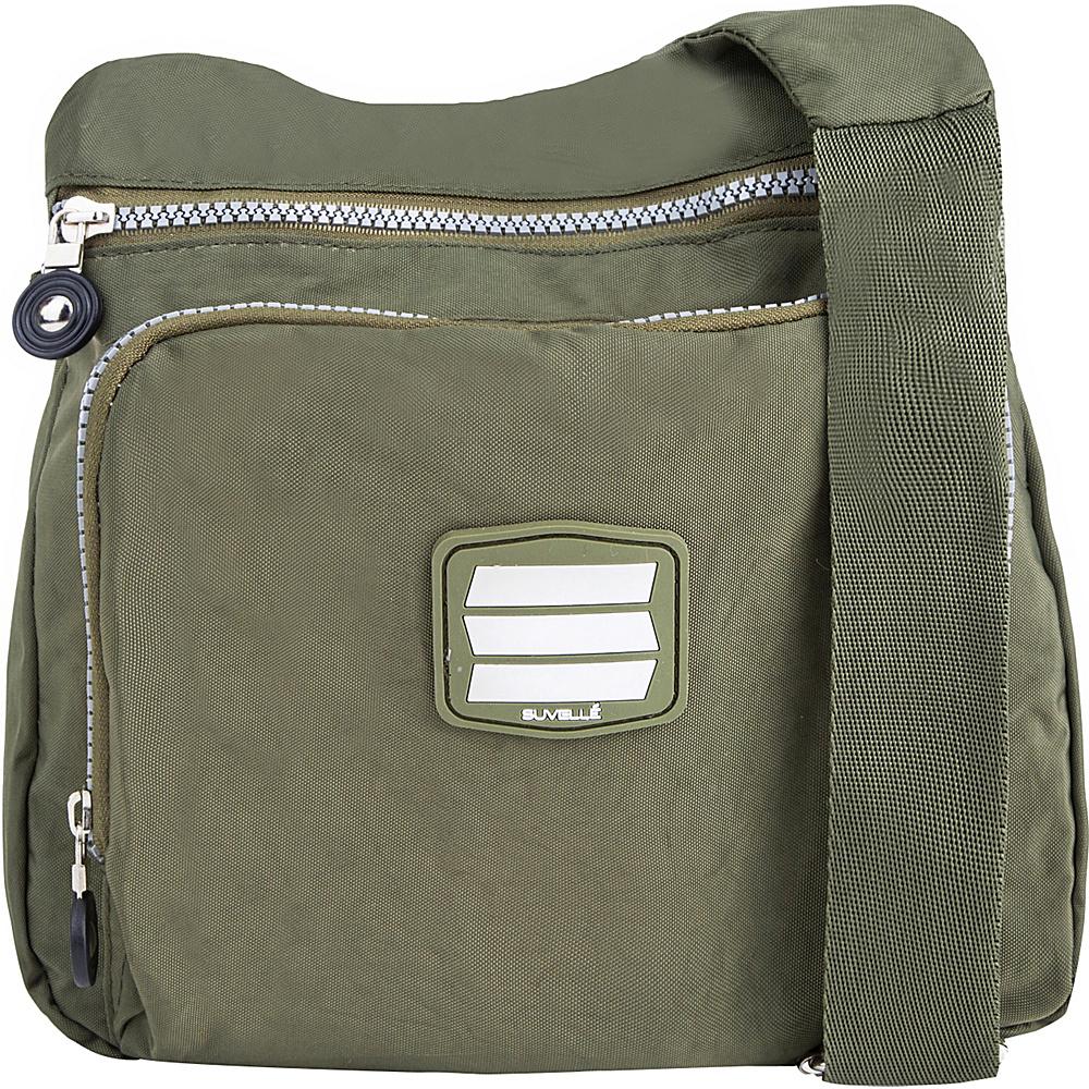 Suvelle Small City Travel Everyday Shoulder Bag Khaki Suvelle Fabric Handbags