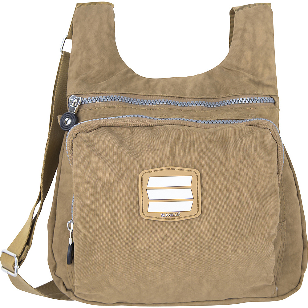 Suvelle Small City Travel Everyday Shoulder Bag Brown Suvelle Fabric Handbags