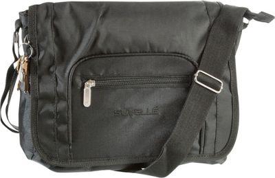 Suvelle Flapper Travel Everyday Shoulder Bag Black - Suvelle Fabric Handbags