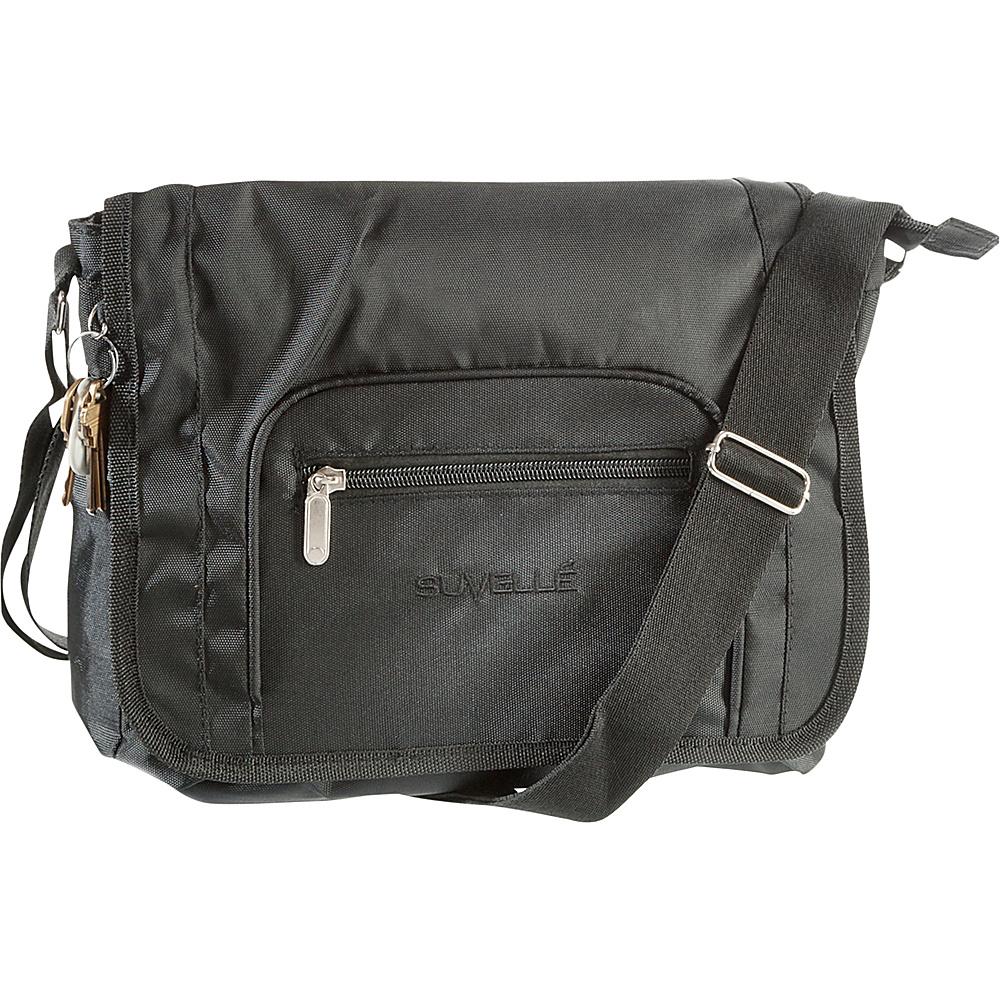 Suvelle Flapper Travel Everyday Shoulder Bag Black Suvelle Fabric Handbags