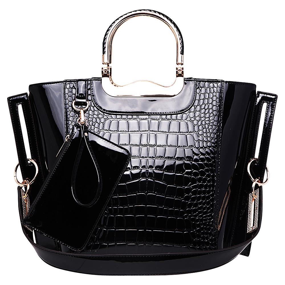 MKF Collection Tressa Croco-Embossed Shoulder Tote Black - MKF Collection Manmade Handbags - Handbags, Manmade Handbags