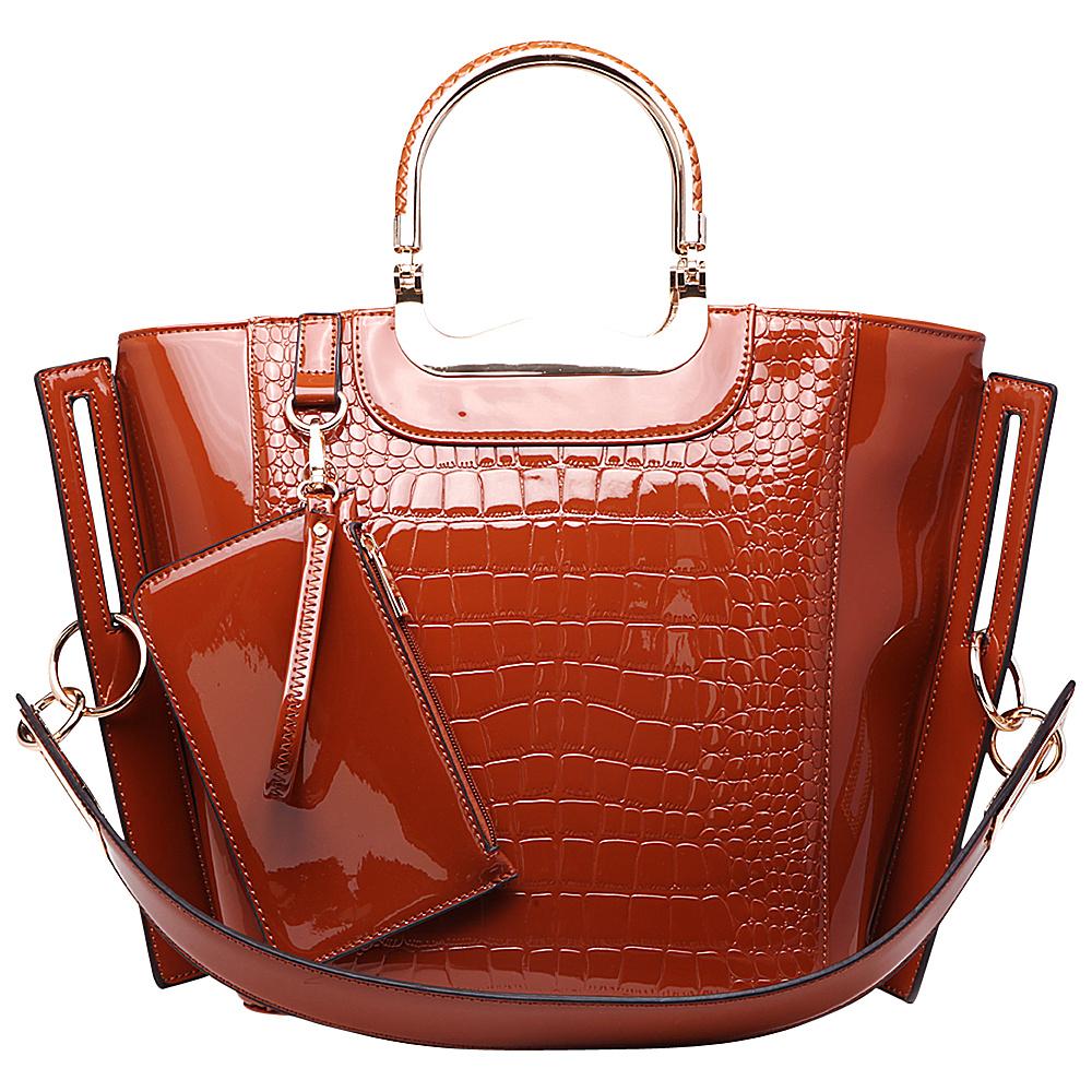 MKF Collection Tressa Croco-Embossed Shoulder Tote Brown - MKF Collection Manmade Handbags - Handbags, Manmade Handbags