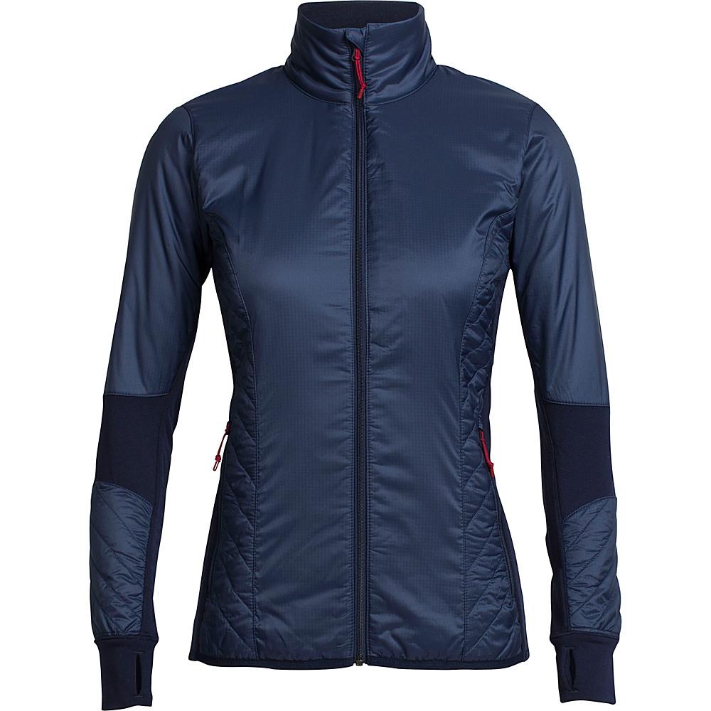 Icebreaker Womens Helix Long Sleeve Zip Jacket L - Midnight Navy/Oxblood - Icebreaker Womens Apparel - Apparel & Footwear, Women's Apparel
