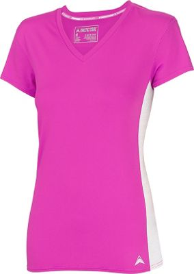 Arctic Cool Womens V-Neck Instant Cooling Shirt with Mesh S - Power Fuchsia - Arctic Cool Women's Apparel