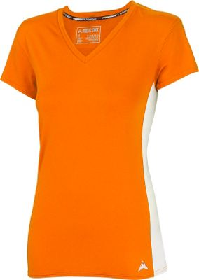 Arctic Cool Womens V-Neck Instant Cooling Shirt with Mesh S - Sunrise Orange - Arctic Cool Women's Apparel