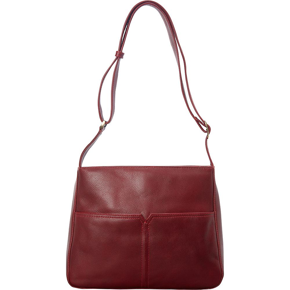 Derek Alexander Large Top Zip Shoulder Bag Red - Derek Alexander Leather Handbags - Handbags, Leather Handbags