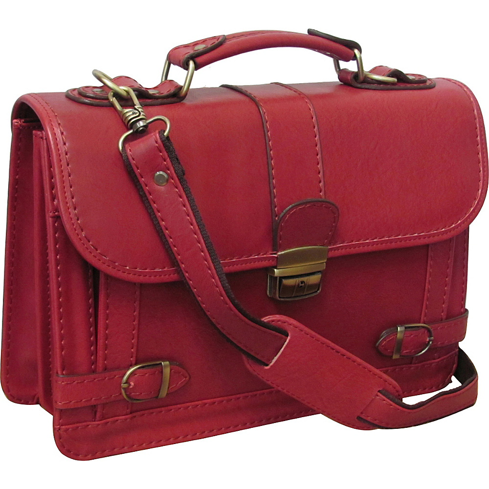 AmeriLeather Veda Leatherette Petite Briefcase Rose Red - AmeriLeather Non-Wheeled Business Cases - Work Bags & Briefcases, Non-Wheeled Business Cases