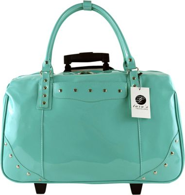 Tara's Travelers Patent Carry-On Trolley Patent Turquoise - Tara's Travelers Softside Carry-On