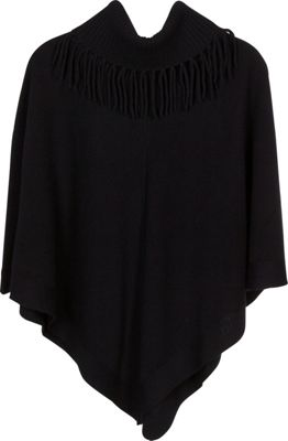 Kinross Cashmere Fringe Neck Poncho Black - Kinross Cashmere Women's Apparel 10491311