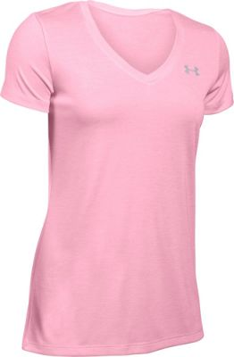 Under Armour Tech Short Sleeve V Neck-Twist S - Pink/Metallic Silver - Under Armour Women's Apparel 10493075