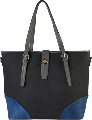 Diophy 2-tone Faux Leather Large Tote Accented with Turn Lock Belt Black - Diophy Manmade Handbags