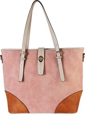 Diophy 2-tone Faux Leather Large Tote Accented with Turn Lock Belt Pink - Diophy Manmade Handbags