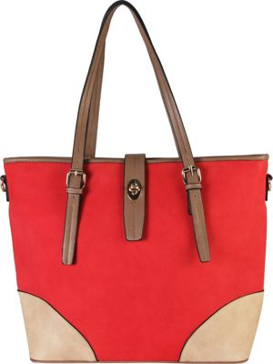 Diophy 2-tone Faux Leather Large Tote Accented with Turn Lock Belt Red - Diophy Manmade Handbags