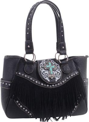 Epic Chic Dakota Western Tote with Fringe Black - Epic Chic Manmade Handbags