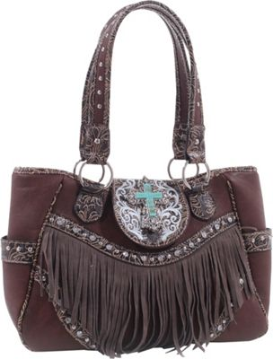 Epic Chic Dakota Western Tote with Fringe Brown - Epic Chic Manmade Handbags