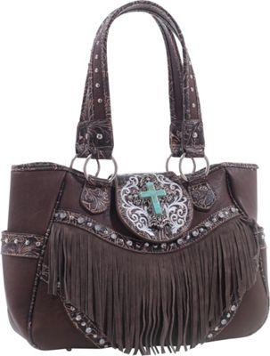 Epic Chic Dakota Western Tote with Fringe Coffee - Epic Chic Manmade Handbags