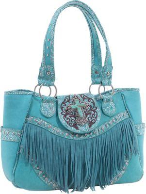 Epic Chic Dakota Western Tote with Fringe Turquoise - Epic Chic Manmade Handbags