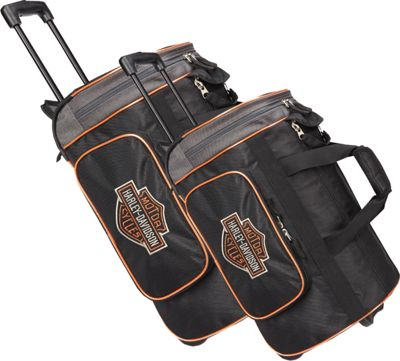 Harley Davidson by Athalon Harley Davidson 2Pc Set 21 inch/29 inch Travel Duffels Black - Harley Davidson by Athalon Rolling Duffels