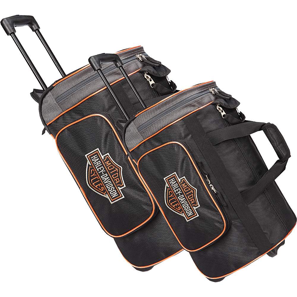 Harley Davidson by Athalon Harley Davidson 2Pc Set 21 29 Travel Duffels Black Harley Davidson by Athalon Rolling Duffels