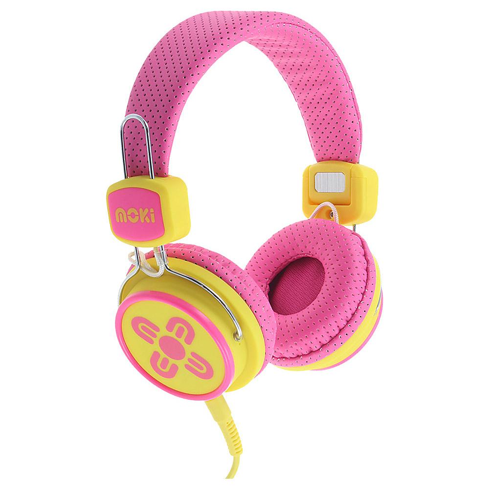 Moki Kids Safe Pink Yellow Moki Headphones Speakers