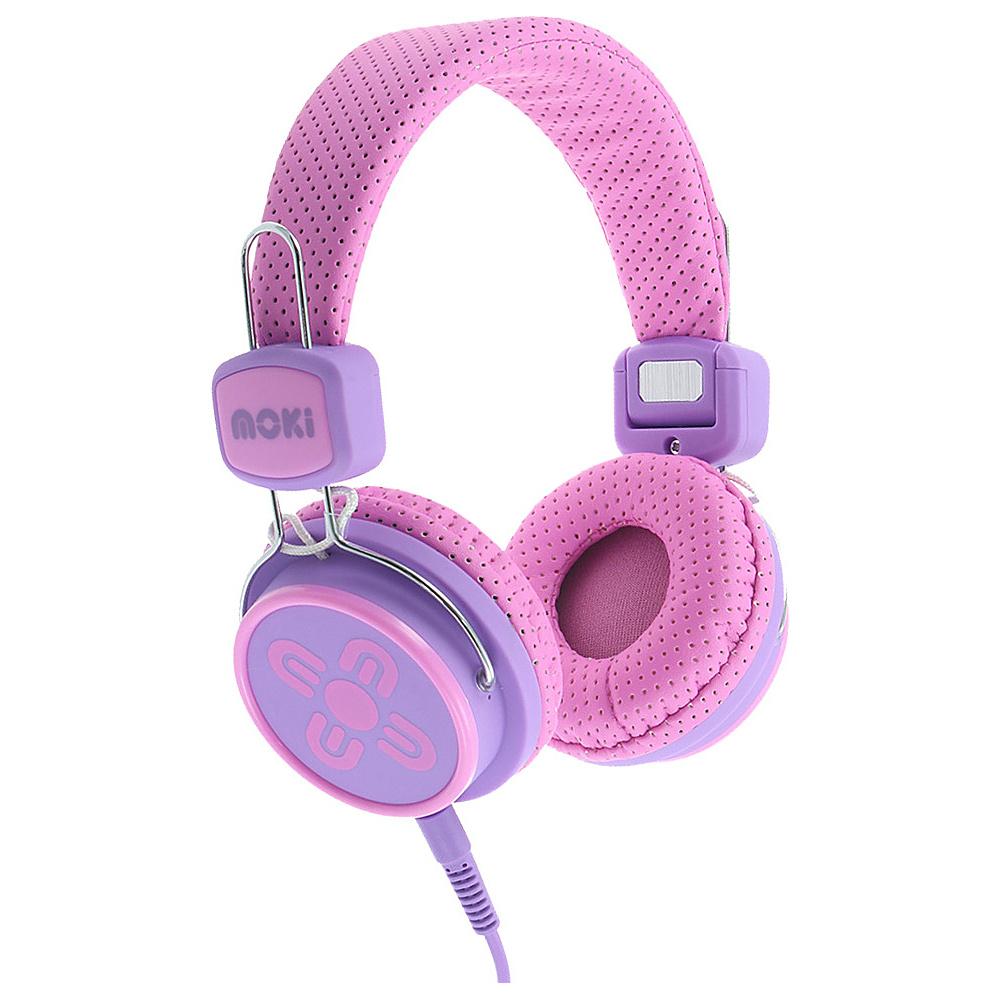 Moki Kids Safe Pink Purple Moki Headphones Speakers