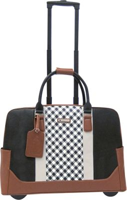 Cabrelli Ginger Gingham 15 inch Laptop Rollerbrief Black/Tan - Cabrelli Wheeled Business Cases