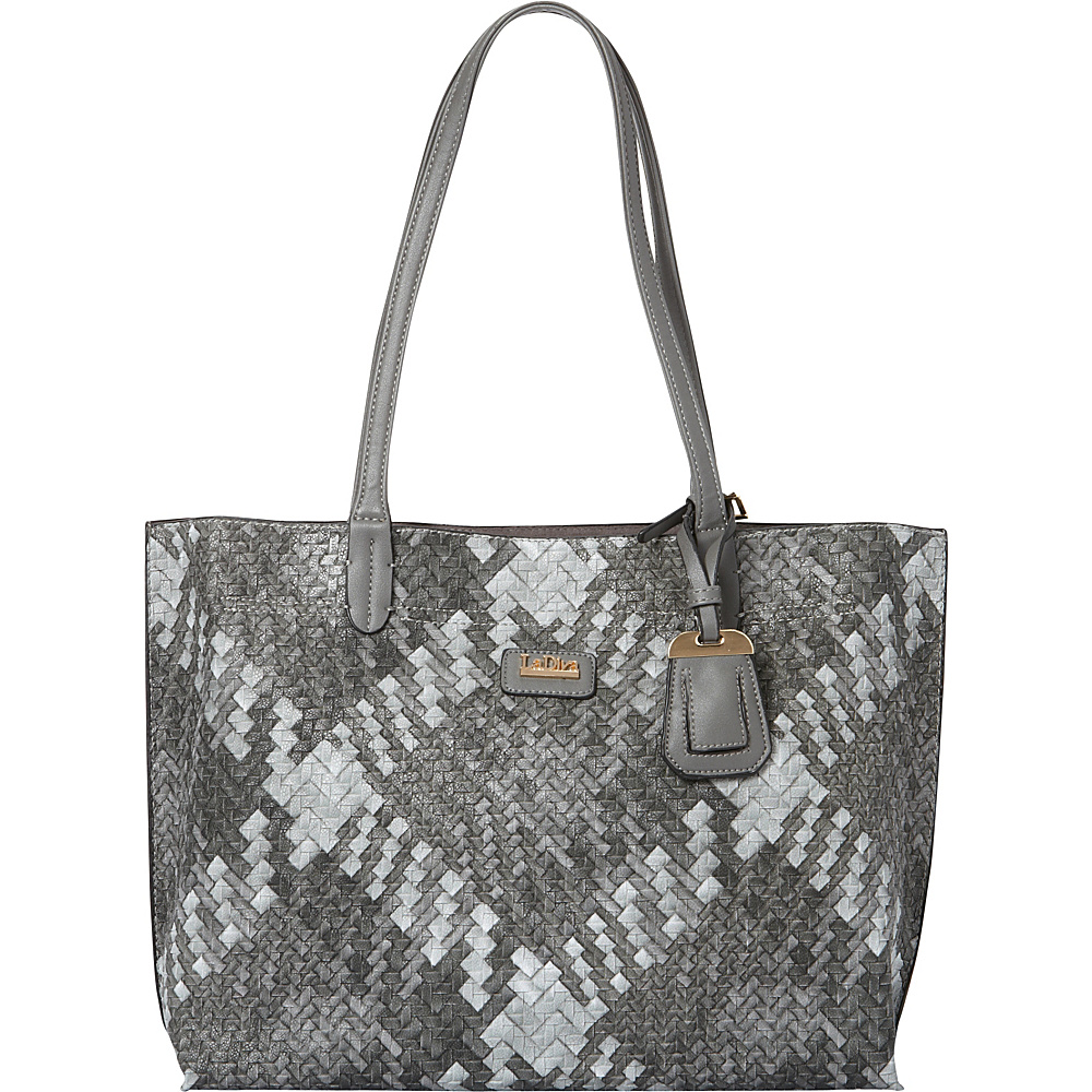 La Diva Willow Woven Tote Grey Multi La Diva Manmade Handbags