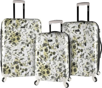 Kensie Luggage 3 PC Expandable Hard Side Spinner Luggage Set White Floral