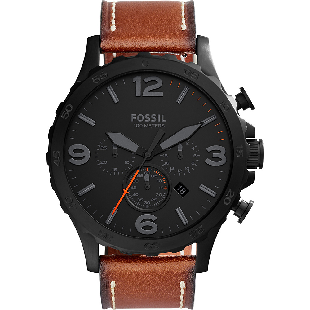 Fossil Nate Chronograph Leather Watch Brown - Fossil Watches - Fashion Accessories, Watches