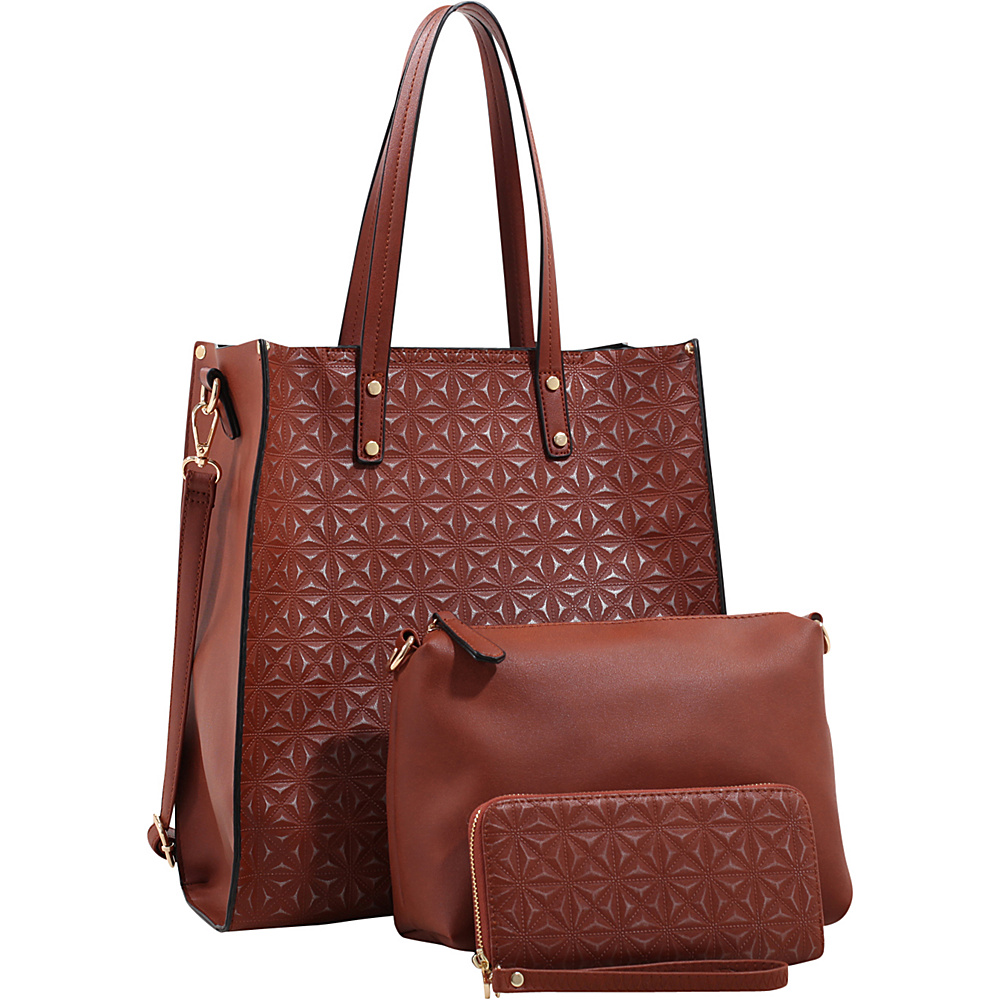 MKF Collection Prinia 3-in-1 Shoppers Tote - Cosmetic Pouch and Wristlet Camel - MKF Collection Manmade Handbags - Handbags, Manmade Handbags