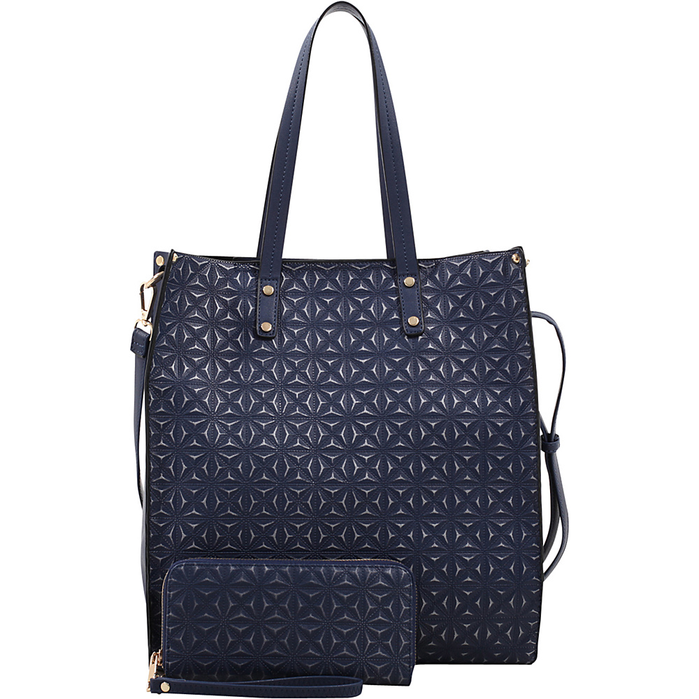 MKF Collection by Mia K. Farrow Prinia 3-in-1 Shoppers Tote - Cosmetic Pouch and Wristlet Dark Blue - MKF Collection by Mia K. Farrow Manmade Handbags - Handbags, Manmade Handbags