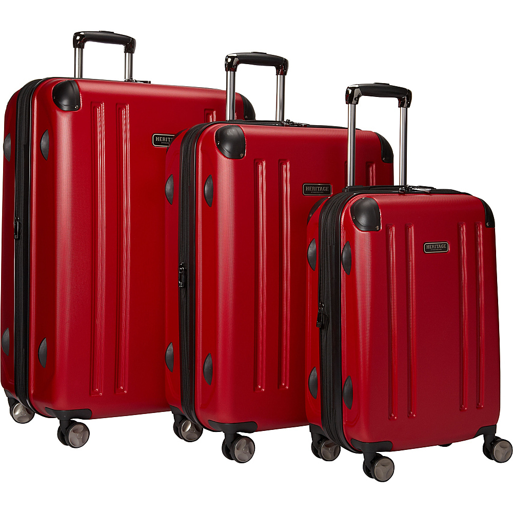 Heritage OHare Collection 3 Piece Luggage Set 20 25 29 Barn Red Heritage Luggage Sets