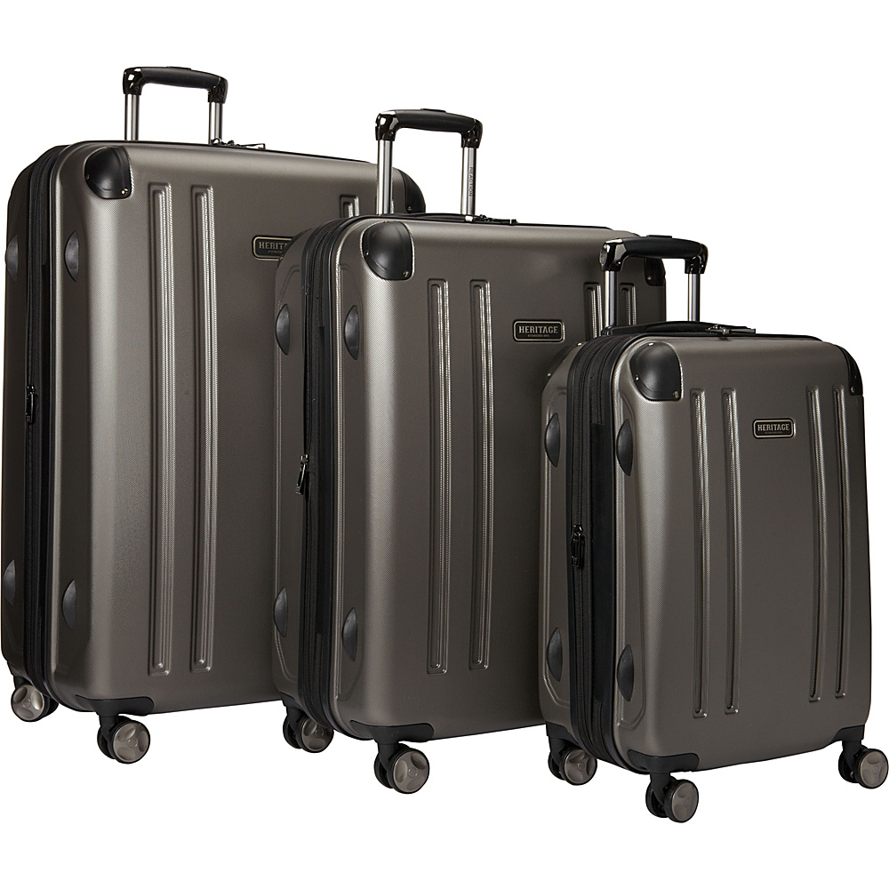 Heritage OHare Collection 3 Piece Luggage Set 20 25 29 Silver Heritage Luggage Sets