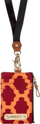 Davey's Lanyard Card Case Wristlet Maroon/Orange Tile - Davey's Fabric Handbags