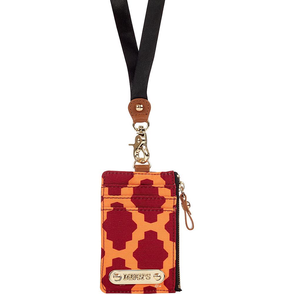 Davey s Lanyard Card Case Wristlet Maroon Orange Tile Davey s Fabric Handbags