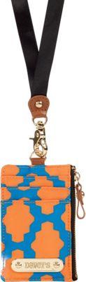Davey's Lanyard Card Case Wristlet Royal/Orange Tile - Davey's Fabric Handbags