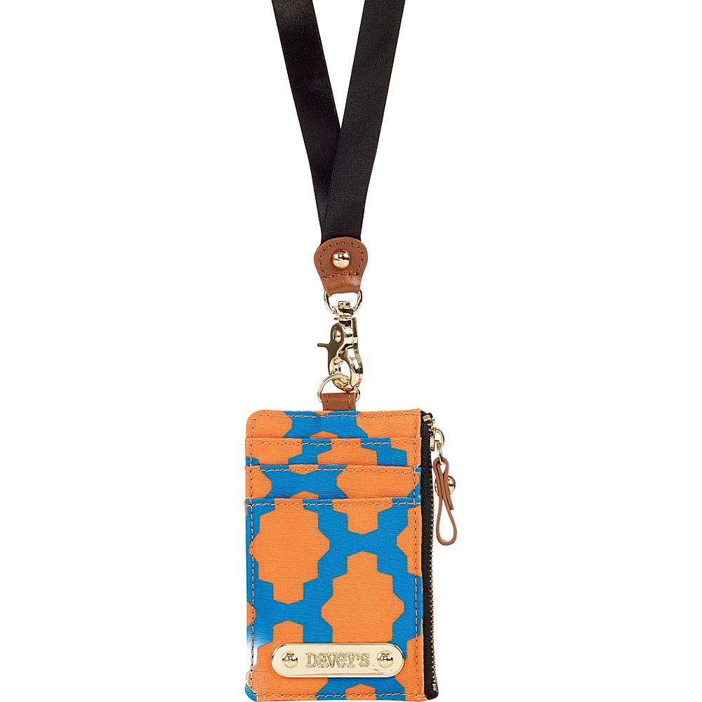 Davey s Lanyard Card Case Wristlet Royal Orange Tile Davey s Fabric Handbags