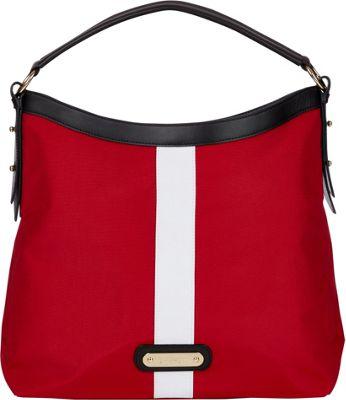 Davey's Hobo Stripe Red/White Stripe/Black Leather - Davey's Fabric Handbags