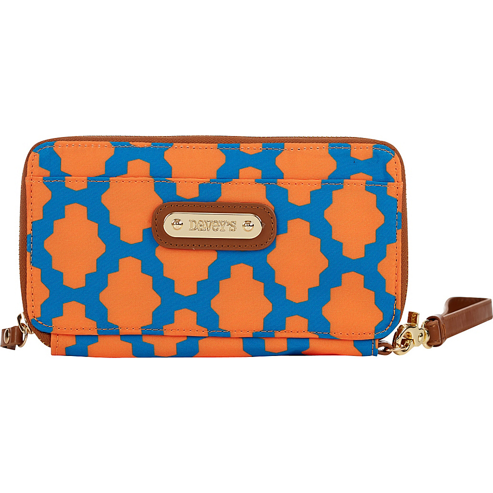 Davey s Continental Wristlet Wallet Royal Orange Tile Davey s Women s Wallets