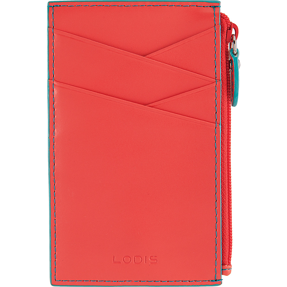 Lodis Audrey Ina Card Case Coral/Turquoise - Lodis Womens Wallets - Women's SLG, Women's Wallets