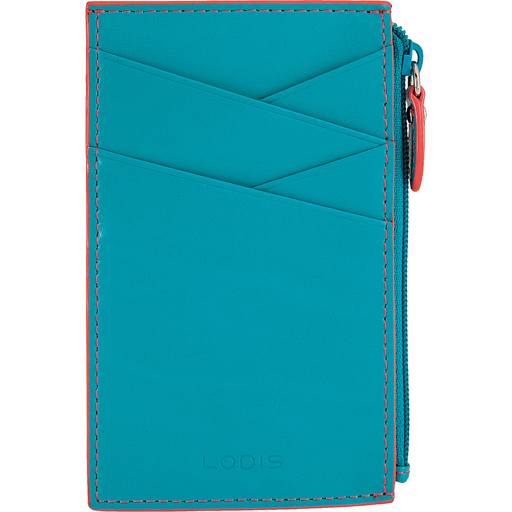 Lodis Audrey Ina Card Case Turquoise/Coral - Lodis Womens Wallets - Women's SLG, Women's Wallets