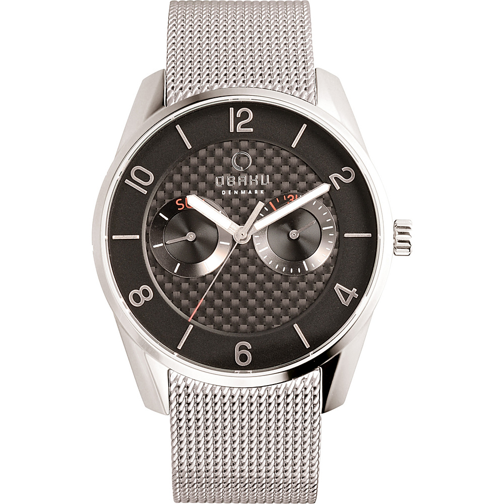 Obaku Watches Mens Multifunction Stainless Steel Mesh Watch Silver Black Obaku Watches Watches